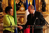 Minister Maite Nkoana-Mashabane and Foreign Minister Laurant Fabius shake hands at the conclusion of the Press Briefing, Paris, France.