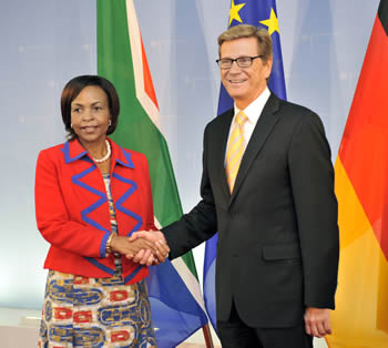 Minister of International Relations and Cooperation of South Africa, Ms Maite Nkoana Mashabane visits the German Foreign Minister, Dr Guido Westerwelle, in Berlin, Germany after the successful SA-EU Summit held in Belgium, 19 September 2012.
