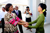 Minister Maite Nkoana-Mashabane and Mrs Daw Aung San Suu Kyi, leader of the National League of Democracy(NLD), greet each other at the home of the NLD leader, Nay Pyi Taw, Myanmar, 4 September 2012.