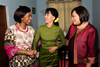 Minister Maite Nkoana-Mashabane, Mrs Daw Aung San Suu Kyi, leader of the National League of Democracy and Ms Ruby Marks, South African Ambassador to Thailand (also accredited to Myanmar) share a light moment at the conclusion of the Meeting at the home of the NLD leader, Nay Pyi Taw, Myanmar, 4 September 2012.