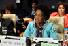 Minister Maite Nkoana-Mashabane addresses the Ministerial Meeting of the Non-Aligned Movement (NAM) Coordinating Bureau (COB). The South African Ambassador to Egypt, Ms Noluthando Mayande-Sibiya, is seated behind her, Sherm El Sheik, Egypt, 9-10 May 2012.