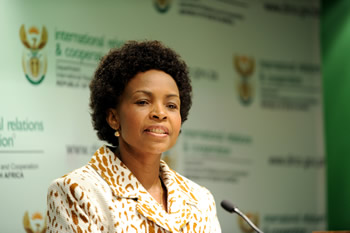 Minister Nkoana-Mashabane responds to questions during a Press Briefing held at the OR Tambo Building, Pretoria, South Africa, 15 May 2012.