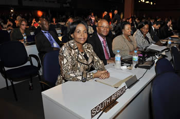 Minister of International Relations and Cooperation at the Rio+20 Conference, with her is Ambassador Baso Sanqu (South Africa's Ambassador to the UN); Minister Water and Environmental Affairs, Minister Ms Edna Molewa; and far right Minister of Energy, Ms Dipuo Peters, 21 June 2012.