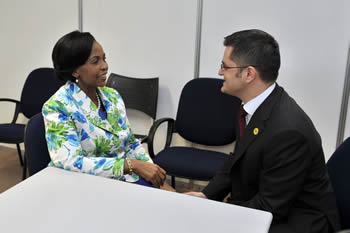 Minister Maite Nkoana-Mashabane meets with the Foreign Minister Vuk Jeremic, of Serbia on the sidelines of the Rio+20 Summit held in Rio de Janeiro, Brazil, 22 June 2012.