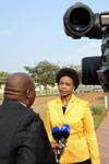 Minister Maite Nkoana-Mashabane at a Press Interview while she attends the SADC Double Troika Meeting ahead of the (SADC) Extraordinary Summit of Heads of State and Government, Luanda, Angola.