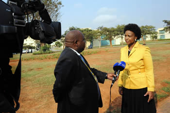 Minister Maite Nkoana-Mashabane at a Press Interview while she attends the SADC Double Troika Meeting ahead of the (SADC) Extraordinary Summit of Heads of State and Government, Luanda, Angola, 31 May 2012.