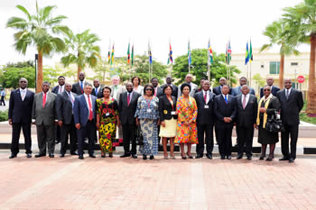 Family Photo of the Ministers at the commencement of the SADC Council of Ministers Meeting on 1 March 2012 in Luanda, Angola.