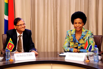 Bilateral Discussions between Minister Maite Nkoana-Mashabane and her counterpart from Sri Lanka, Professor Gamini Lakshman Peiris, Minister of External Affairs, 5 March 2012.