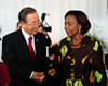 Minister Maite Nkoana Mashabane and the United Nations Secretary-General Ban Ki-moon at the High-Level Event on Women's access to Justice, organised by the Republic of Finland, South Africa and UNWomen, New York, USA, 25 September 2012.