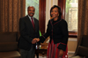 Minister of International Relations and Cooperation, Ms Maite Nkoana-Mashabane hosts the Minister of Foreign Affairs, Mr Osman Salih Mohammed of Eritrea for Bilateral Political and Economic Discussions, Cape Town, South Africa, 21 August 2012.