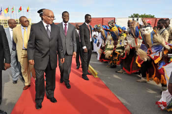 President Jacob Zuma departs from the Cotonou International Airport, Cotonou, Benin, 14 May 2012.