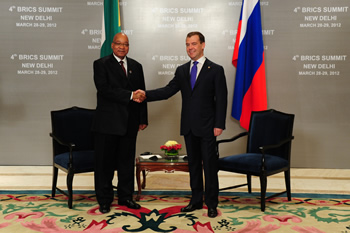 President Jacob Zuma meets with President Dmitri Medvedev of the Russian Federation for a Bilateral Engagement in New Delhi, India, ahead of the 4th BRICS Summit, 28 March 2012.