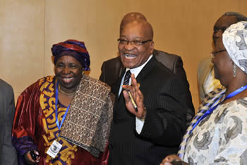 President Jacob Zuma with Minister Nkosazana Dlamini Zuma after the AU Candidature Vote, 15 July 2012.