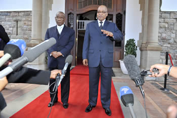President Jacob Zuma and the Prime Minister of Lesotho, Tom Thabane, are being interviewed by the Media during a Working Visit by the Prime Minister to South Africa; at the Sefako M Makgatho Presidential Guesthouse, Pretoria, South Africa, 18 October 2012.