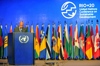 President Jacob Zuma addresses the Plenary RIO+20 United Nations Conference of Sustainable Development, 21 June 2012.