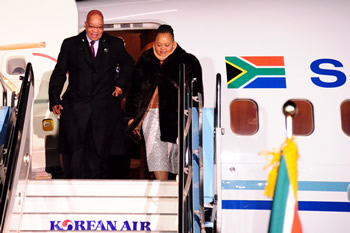 President Jacob Zuma and his spouse arrive in Seoul, South Korea for the Nuclear Security Summit 2012, on 25 March 2012.