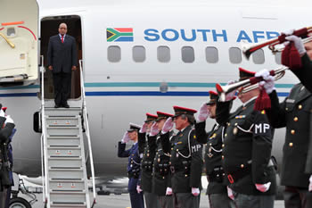 President Jacob Zuma arrives in Brussels, Belgium for the SA-EU Summit Meeting, 18 September 2012.