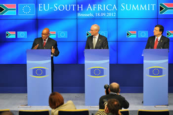 President Jacob Zuma with the President of the European Council, President Van Rompuy; and the President of the EU Commission, President José Manuel Barosso during a Press Conference, 18 September 2012.
