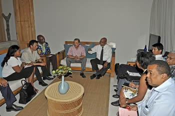 President Jacob Zuma and President James Michel of Seychelles meet with the leaders of Madagascar - Mr Andry Rajoelina and Mr Marc Ravalomanana, 26 July 2012.