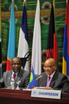 President Jacob Zuma chairs a SADC Troika Meeting ahead of the SADC Summit to be held in Maputo, Mozambique. Seated next to the President is SADC Executive Secretary, Dr Thomaz Salomao, 16 August 2012.