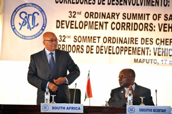 President Jacob Zuma is seated next to SADC Executive Secretary, Dr Thomaz Salomao, during the SADC Summit Opening, 17 August 2012.