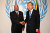 President Jacob Zuma meets the United Nations Secretary-General Ban Ki-moon at the United Nations, New York, USA, 25 September 2012.