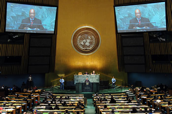 President Jacob Zuma addresses the 67th Session of the United Nations General Assembly, New York, USA, 25 September 2012.
