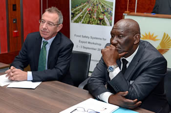 Deputy Minister of Agriculture, Forestry and Fisheries, Mr Bheki Cele; and New Zealand High Commissioner, Mr Richard Mann; listen as delegates introduce themselves attending the New Zealand - South Africa Workshop on Food Safety Systems for Export, Pretoria, South Africa, 2 September 2014.