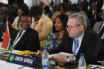Minister of Trade and Industry, Mr Rob Davies, during the SADC Ministers Council Meeting, Elephant Hills Resort Conferences Centre, Victoria Falls, Zimbabwe ahead of the 34th Ordinary Summit of SADC Heads of State and Government to follow. Seated next to him is Deputy Director General, Ms Maud Dlomo, and Director General, Mr Jerry Matjila, from the Department of International Relations and Cooperation, 8-13 August 2014.
