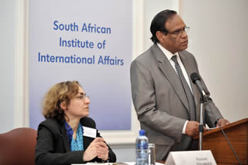 "Deputy Minister Ebrahim Ebrahim addresses the South African Institute of International Affairs (SAIIA) on the topic of ""Celebrating 19 years of South Africa's Foreign Policy: Milestones and Challenges"", Johannesburg, South Africa, 04 July 2013."