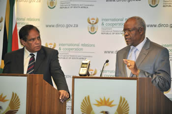Deputy Minister Ebrahim Ebrahim during a Press Conference with his Somalian counterpart, Dr Jamal Barrow, at the OR Tambo Building, Pretoria, South Africa, 02 July 2013.
