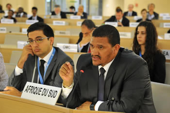 "Deputy Minister Fransman addresses the meeting during Panel discussion on ""International cooperation in the development, transfer and diffusion of technologies in Africa and least developed countries"", Geneva, Switzerland, 03 July 2013."