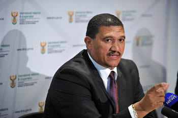 Deputy Minister Marius Fransman addresses the media on the case of Prof. Cyril Karabus, City Lodge, OR Tambo International Airport, Johannesburg, South Africa, 22 April 2013.