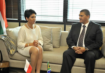 Deputy Minister Marius Fransman receives the Undersecretary of State for Foreign Affairs of Poland, Ms Beata Stelmach at the O R Tambo Building, Pretoria, South Africa, 10 July 2013.