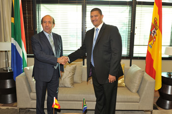 Deputy Minister Marius Fransman hosts the Secretary of State for Foreign Affairs of Spain, Mr Gonzalo de Benito Secades for Bilateral Consultations, Pretoria, South Africa, 11 July 2013.
