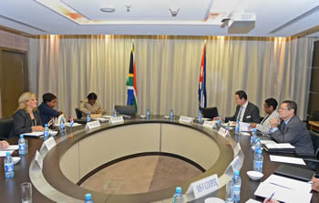 Deputy Minister Luwellyn Landers with his Cuban counterpart, Deputy Minister Ana Teresita González Fraga, O R Tambo Building, Pretoria, South Africa, 11 September 2014.