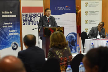 Deputy Minister Luwellyn Landers during the IGD Symposium on the 50th Anniversary of the G77 + China, Pretoria, South Africa, 25 July 2014.