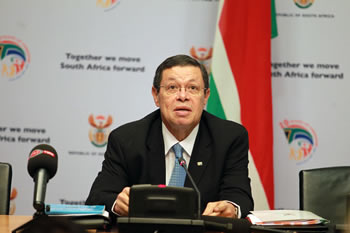 Deputy Minister Luwellyn Landers briefs the media on international developments, Imbizo Media Centre, Parliament, Cape Town, South Africa, 2 July 2014.