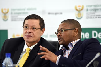Deputy Minister Luwellyn Landers and the President of the South African Youth Consultative Forum (SAYC), Mr Thulane Tshefuta, during the National Youth Consultative Forum on the AU's Agenda 2063, Pretoria, South Africa, 11 July 2014.
