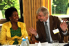 Minister Maite Nkoana-Mashabane and Finnish Foreign Minister Erkki Tuomioja share a light moment during a lunch hosted before the start of the 13th Nordic-Africa Foreign Ministers Meeting, Hameenlinna, Finland, 15-16 June 2013.