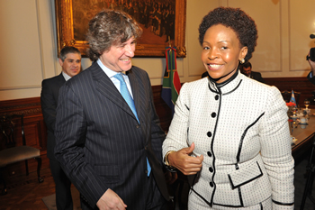 Minister Nkoana-Mashabane pays a Courtesy Call on the Vice President of Argentina, H E Amando Boudou, at the Senate in Buenos Aires, Argentina, 1 August 2013.