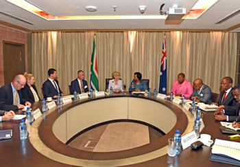 Bilateral Discussions between South Africa and Australia are held at the O R Tambo Building of the Department of International Relations and Cooperation, Pretoria, South Africa, 11 September 2014