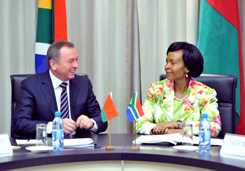 Minister Maite Nkoana-Mashabane and her counterpart, the Minister of Foreign Affairs of Belarus, Vladirmir Makei, during Bilateral Consultations at the O R Tambo Building, Pretoria, South Africa, 12 September 2014.