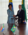 Minister Maite Nkoana-Mashabane and Foreign Minister Antonio Patriota of Brazil at the the commencement of the Bilateral Meeting, Brasilia, Brazil, 30 July 2013.
