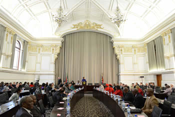 Minister Maite Nkoana-Mashabane delivers her Budget Vote in Parliament, Cape Town, South Africa, 22 July 2014.