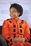 Minister Maite Nkoana-Mashabane during an E-TV Sunrise Event focussing on the Heads of Mission Conference held at the O R Tambo Building, Pretoria, South Africa, 11 April 2013.