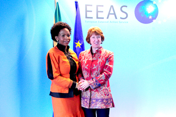 Minister Maite Nkoana-Mashabane meets the European Union High Representative for Foreign Affairs and Security Policy, Baroness Catherine Ashton, who is also the Vice-President of the European Commission, for the 12th SA-EU Ministerial Political Dialogue (MPD), Brussels, Belgium, 10 June 2013.