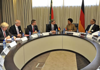 Minister Maite Nkoana-Mashabane with Foreign Affairs Minister, Dr Guido Westerwelle, from the Federal Republic of Germany, Pretoria, South Africa, 29 April 2013.