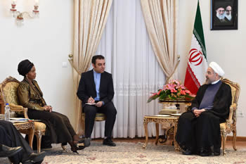 Minister Maite Nkoana-Mashabane pays a Courtesy Call on the President of the Islamic Republic of Iran, H. E. Dr Hassan Rouhan, Tehran, Islamic Republic of Iran, 15-16 June 2014.