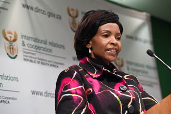 Minister Maite Nkoana-Mashabane addresses the media on a variety of international issues, Pretoria, South Africa, 8 July 2014.
